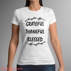 Футболка белая женская с принтом Благодарен, признателен, благословен