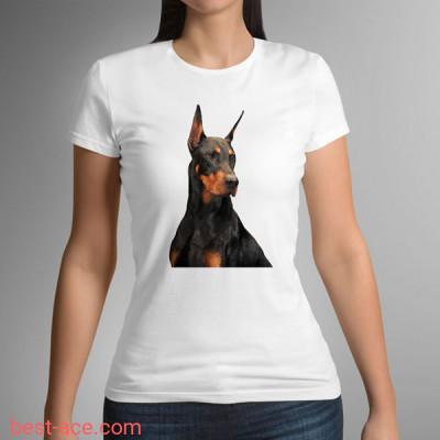 Футболка белая женская с принтом собаки