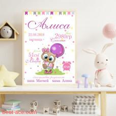 Метрика для девочки новорожденной Алиса совенок