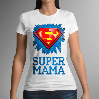 Футболка белая женская с принтом Super мама